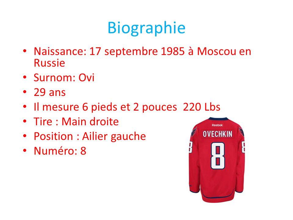 Biographie Naissance: 17 septembre 1985 à Moscou en Russie Surnom: Ovi 29 ans Il mesure 6 pieds et 2 pouces 220 Lbs Tire : Main droite Position : Aili