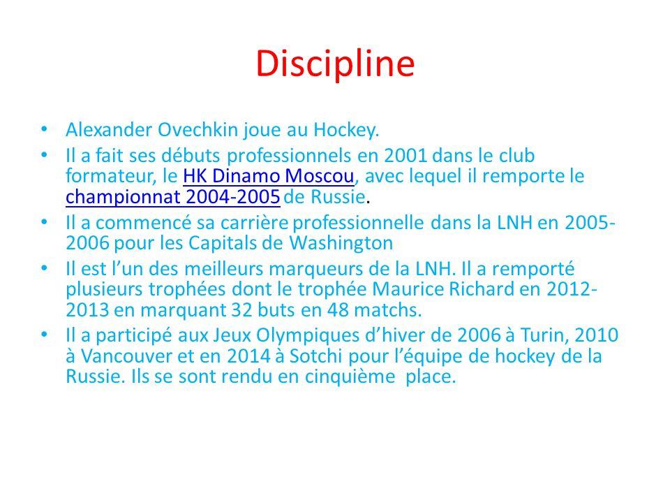 Discipline Alexander Ovechkin joue au Hockey. Il a fait ses débuts professionnels en 2001 dans le club formateur, le HK Dinamo Moscou, avec lequel il