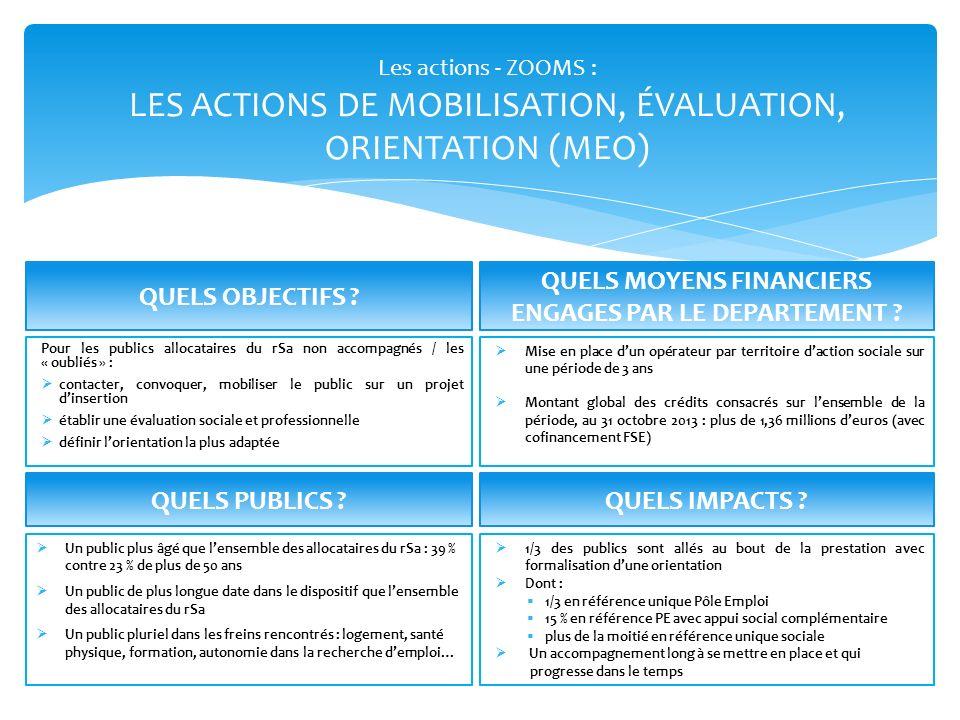 Les actions - ZOOMS : LES ACTIONS DE MOBILISATION, ÉVALUATION, ORIENTATION (MEO) Un public plus âgé que lensemble des allocataires du rSa : 39 % contr