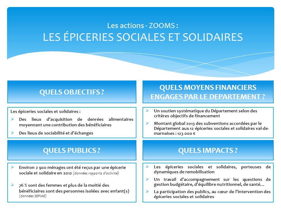 Les actions - ZOOMS : LES ÉPICERIES SOCIALES ET SOLIDAIRES Environ 2 900 ménages ont été reçus par une épicerie sociale et solidaire en 2012 (données