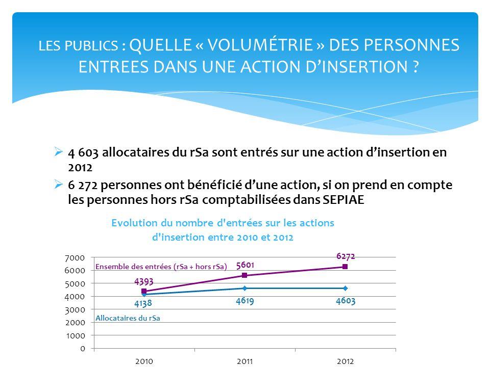 1 238 allocataires du rSa ont été accompagnés et sont sortis dune action dinsertion en 2012 1 675 personnes, si on prend en compte les personnes hors rSa comptabilisées dans SEPIAE LES PUBLICS : QUELLE « VOLUMÉTRIE » DES PERSONNES ENTREES DANS UNE ACTION ENGAGEANT UN PARCOURS.