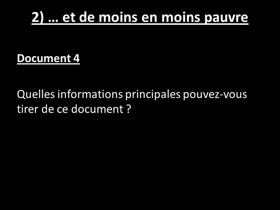 2) … et de moins en moins pauvre Document 4 Quelles informations principales pouvez-vous tirer de ce document ?