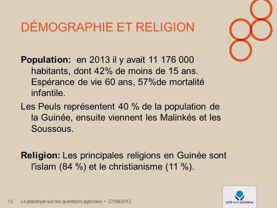 DÉMOGRAPHIE ET RELIGION Population: en 2013 il y avait 11 176 000 habitants, dont 42% de moins de 15 ans.