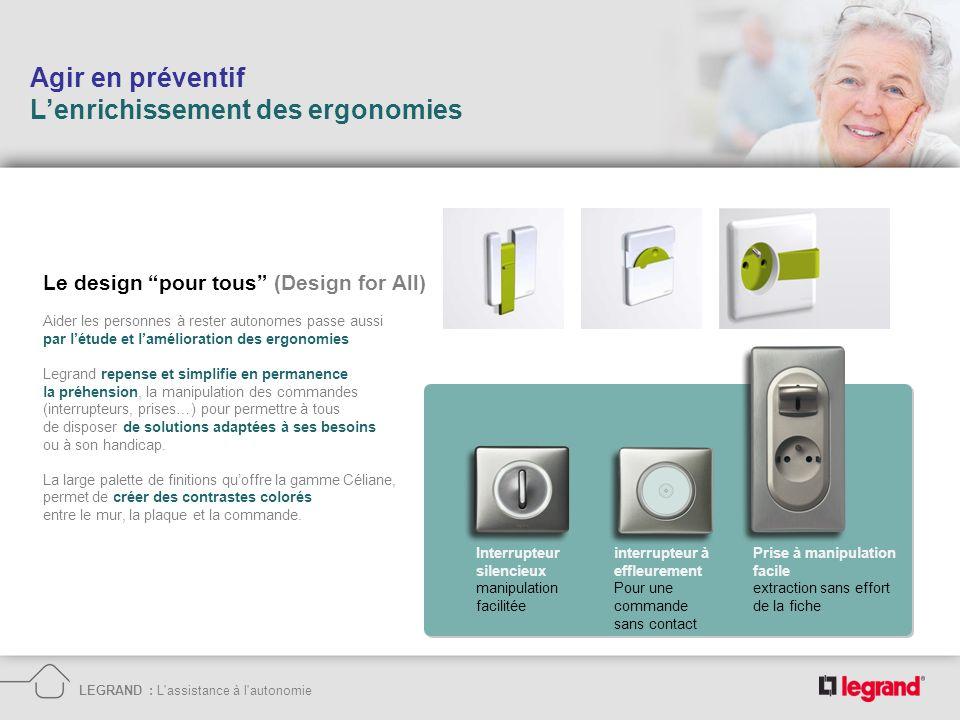 Agir en préventif Lenrichissement des ergonomies LEGRAND : L'assistance à l'autonomie interrupteur à effleurement Pour une commande sans contact Inter