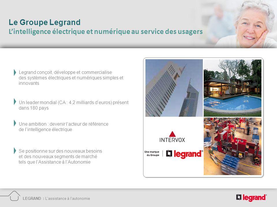 Le Groupe Legrand Lintelligence électrique et numérique au service des usagers LEGRAND : L'assistance à l'autonomie Legrand conçoit, développe et comm