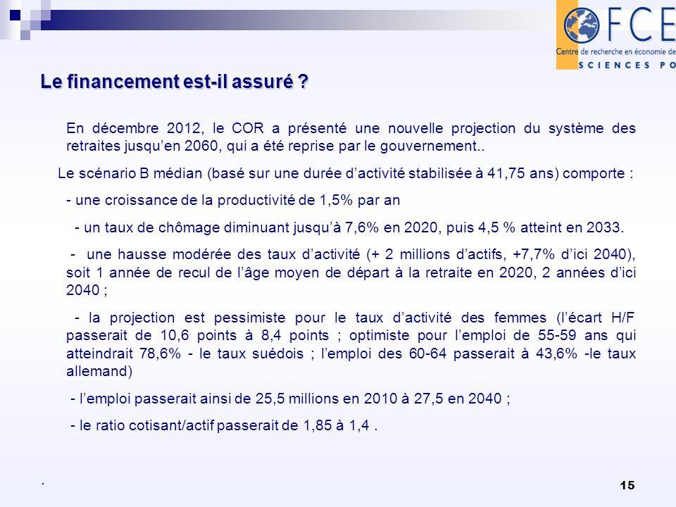 15 Le financement est-il assuré ? Le financement est-il assuré ? En décembre 2012, le COR a présenté une nouvelle projection du système des retraites