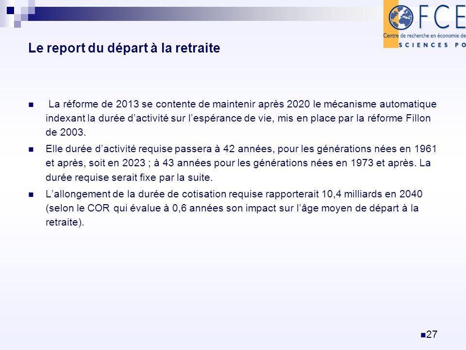 Le report du départ à la retraite La réforme de 2013 se contente de maintenir après 2020 le mécanisme automatique indexant la durée dactivité sur lesp