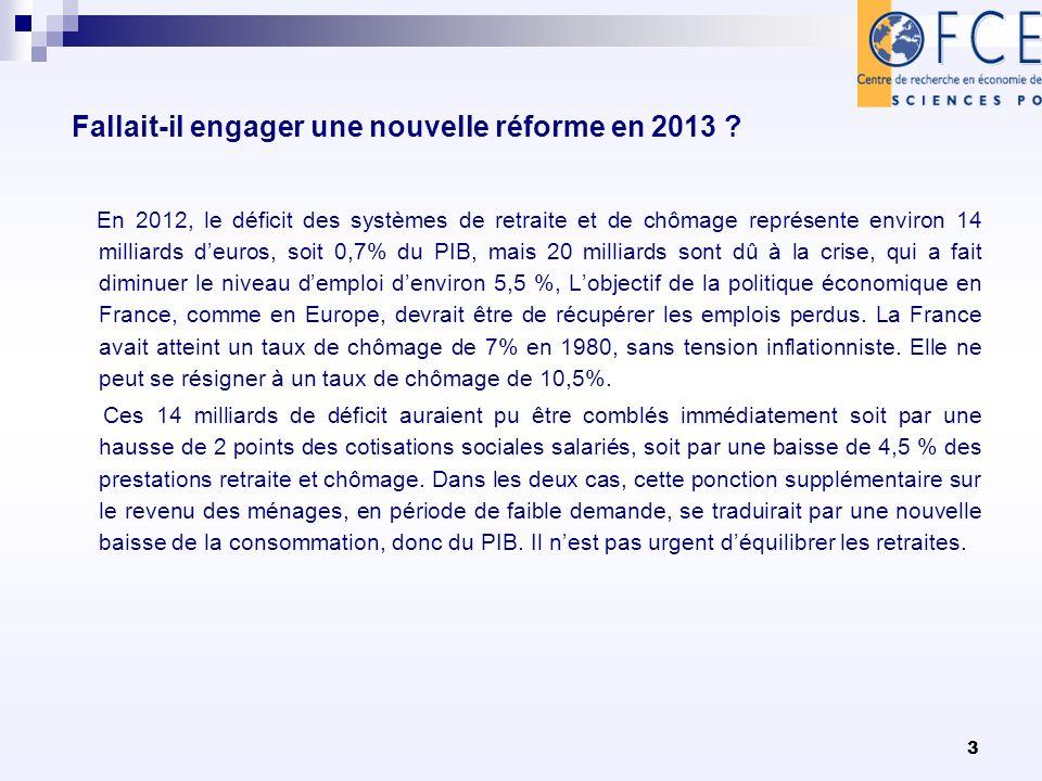 3 Fallait-il engager une nouvelle réforme en 2013 ? En 2012, le déficit des systèmes de retraite et de chômage représente environ 14 milliards deuros,