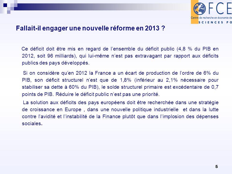 5 Fallait-il engager une nouvelle réforme en 2013 ? Ce déficit doit être mis en regard de lensemble du déficit public (4,8 % du PIB en 2012, soit 96 m