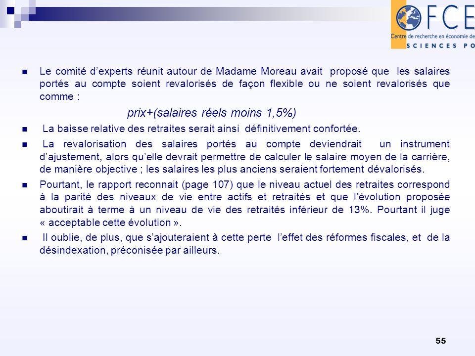 55 Le comité dexperts réunit autour de Madame Moreau avait proposé que les salaires portés au compte soient revalorisés de façon flexible ou ne soient revalorisés que comme : prix+(salaires réels moins 1,5%) La baisse relative des retraites serait ainsi définitivement confortée.