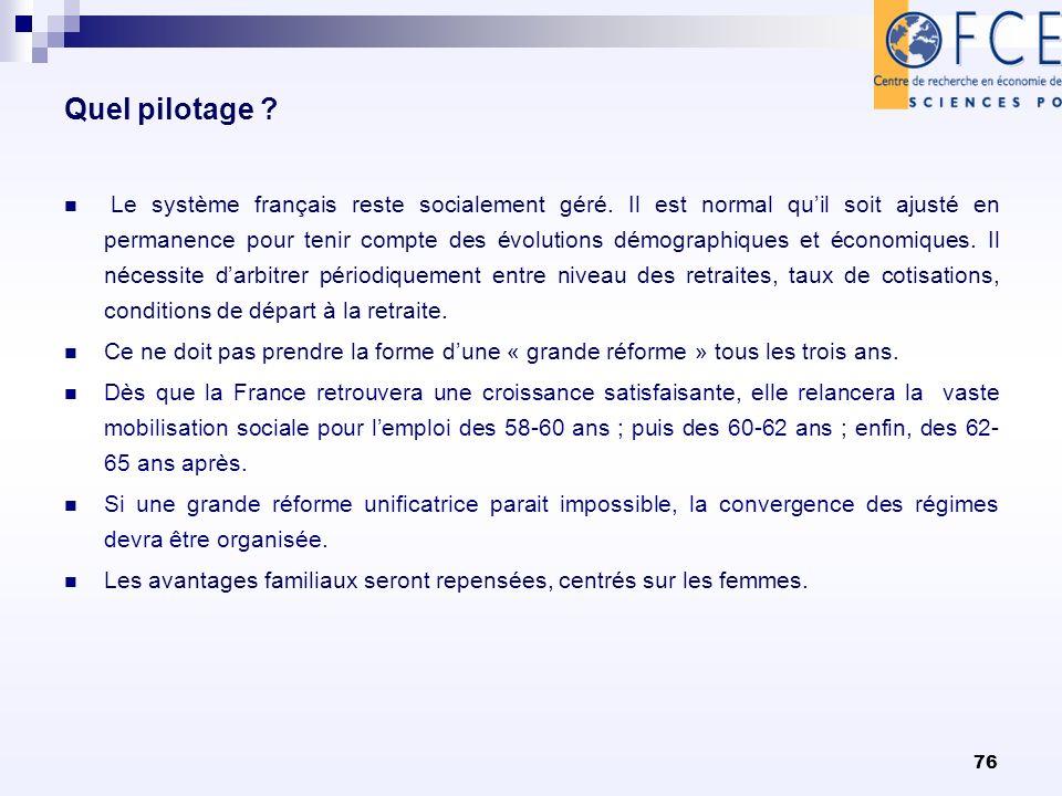 Quel pilotage ? Le système français reste socialement géré. Il est normal quil soit ajusté en permanence pour tenir compte des évolutions démographiqu
