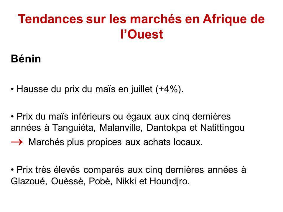 Tendances sur les marchés en Afrique de lOuest Bénin Hausse du prix du maïs en juillet (+4%).