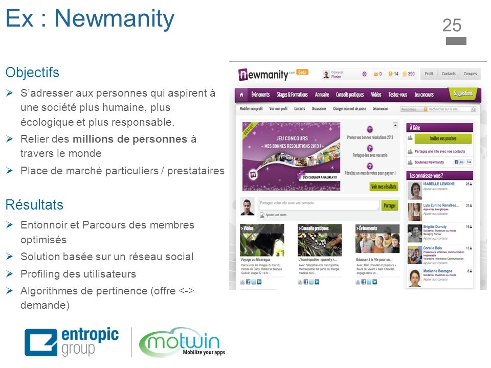 Ex : Newmanity 25 Objectifs Sadresser aux personnes qui aspirent à une société plus humaine, plus écologique et plus responsable. Relier des millions
