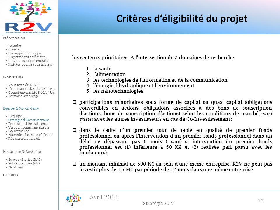 Avril 2014 Stratégie R2V 11 les secteurs prioritaires: A lintersection de 2 domaines de recherche: 1.la santé 2.lalimentation 3.les technologies de li