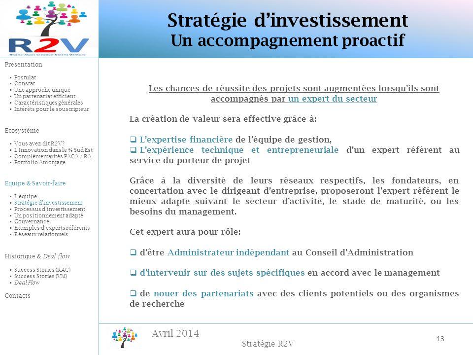 Avril 2014 Stratégie R2V Les chances de réussite des projets sont augmentées lorsquils sont accompagnés par un expert du secteur La création de valeur