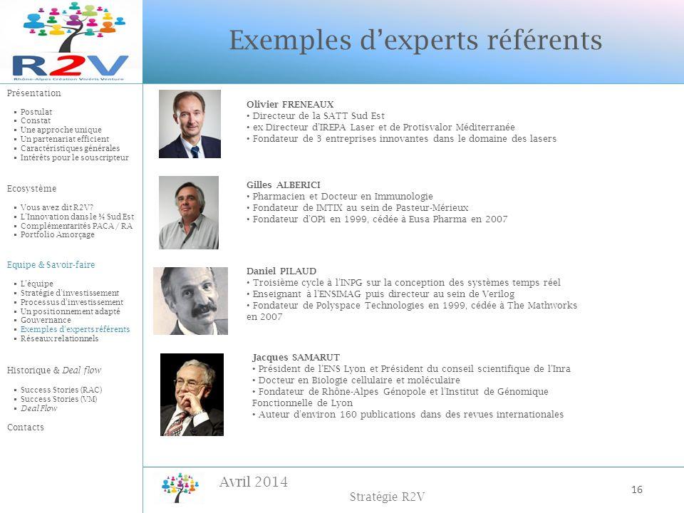 Avril 2014 Stratégie R2V Exemples dexperts référents Olivier FRENEAUX Directeur de la SATT Sud Est ex Directeur dIREPA Laser et de Protisvalor Méditer