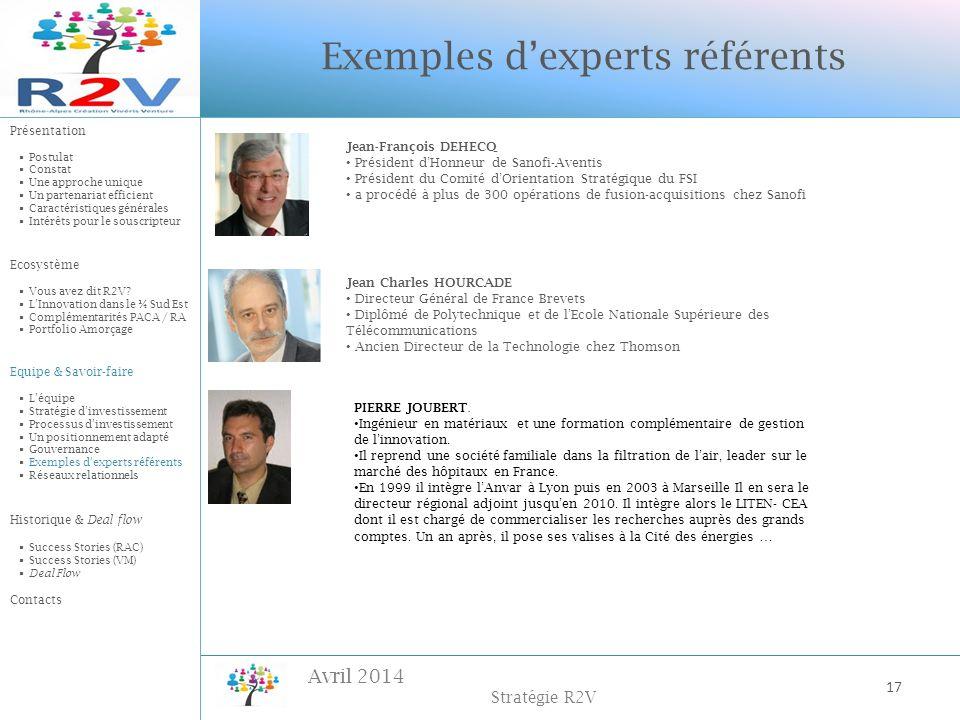 Avril 2014 Stratégie R2V Exemples dexperts référents Jean-François DEHECQ Président dHonneur de Sanofi-Aventis Président du Comité dOrientation Straté