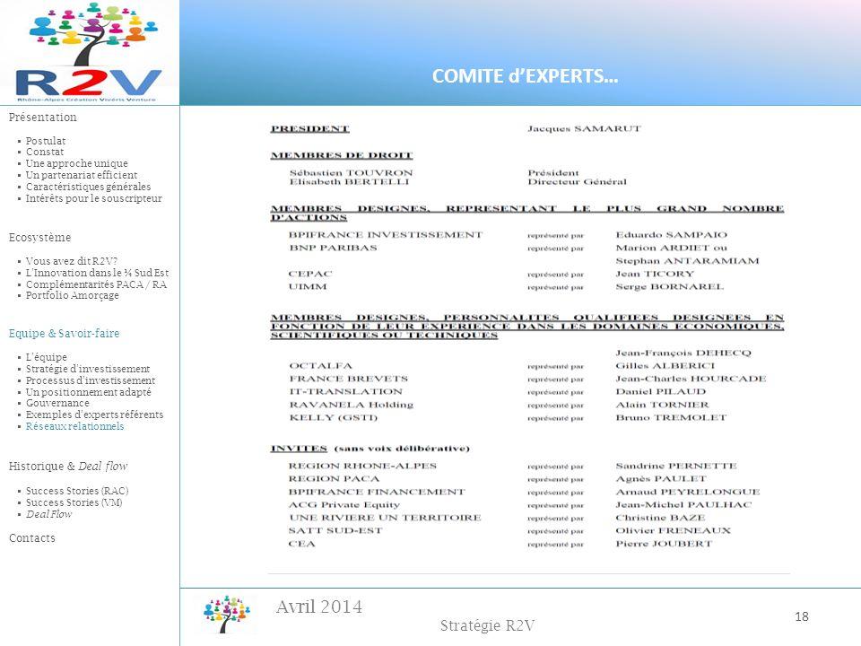 Avril 2014 Stratégie R2V 18 COMITE dEXPERTS… Présentation Postulat Constat Une approche unique Un partenariat efficient Caractéristiques générales Int