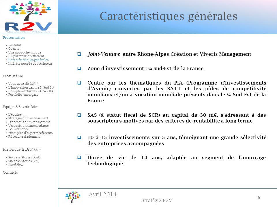 Avril 2014 Stratégie R2V Joint-Venture entre Rhône-Alpes Création et Viveris Management Zone dinvestissement : ¼ Sud-Est de la France Centré sur les t
