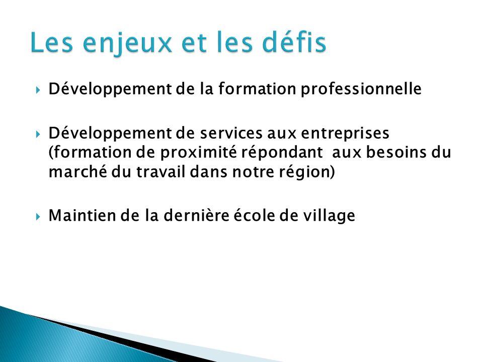 Développement de la formation professionnelle Développement de services aux entreprises (formation de proximité répondant aux besoins du marché du travail dans notre région) Maintien de la dernière école de village