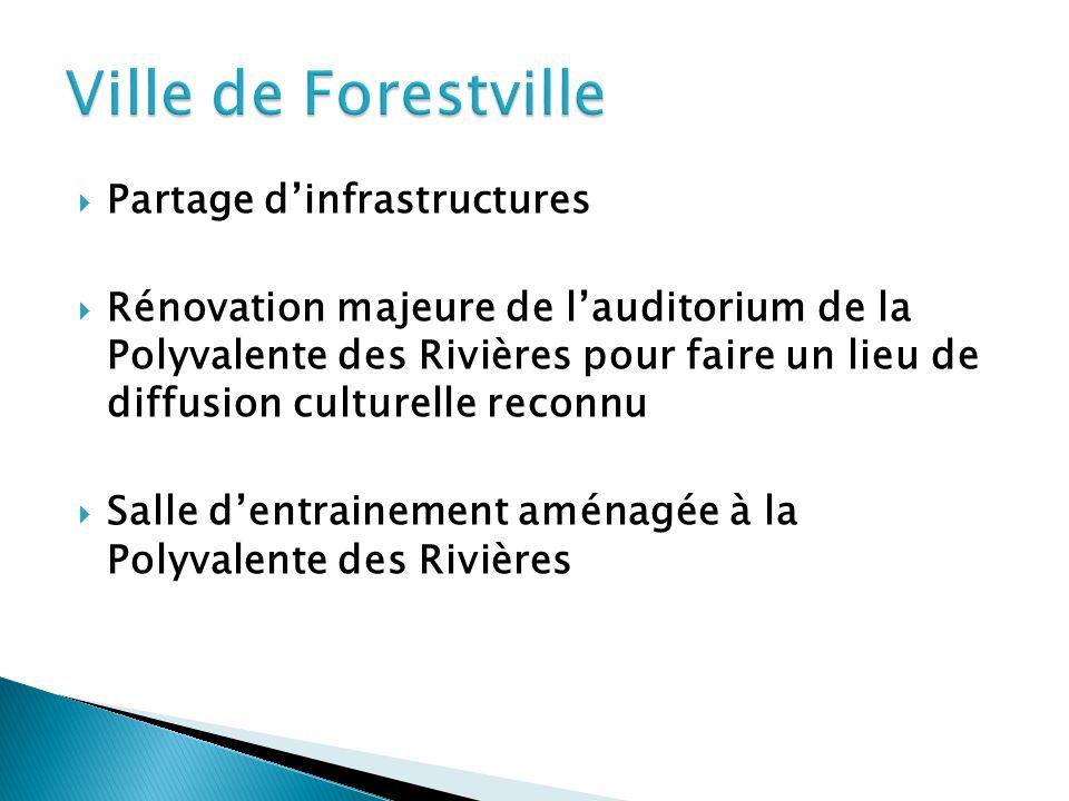 Partage dinfrastructures Rénovation majeure de lauditorium de la Polyvalente des Rivières pour faire un lieu de diffusion culturelle reconnu Salle dentrainement aménagée à la Polyvalente des Rivières