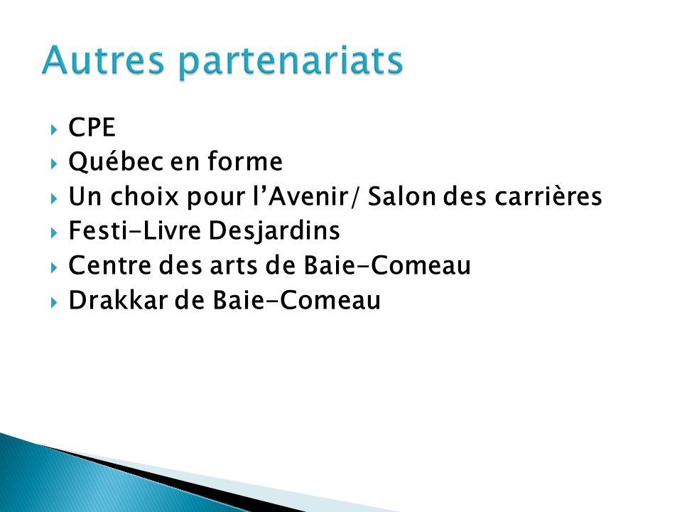 CPE Québec en forme Un choix pour lAvenir/ Salon des carrières Festi-Livre Desjardins Centre des arts de Baie-Comeau Drakkar de Baie-Comeau