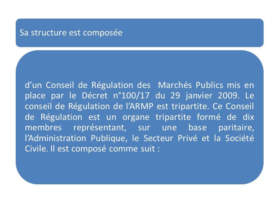 Sa structure est composée dun Conseil de Régulation des Marchés Publics mis en place par le Décret n°100/17 du 29 janvier 2009. Le conseil de Régulati