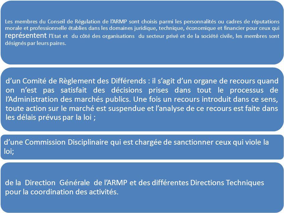 Les membres du Conseil de Régulation de lARMP sont choisis parmi les personnalités ou cadres de réputations morale et professionnelle établies dans le