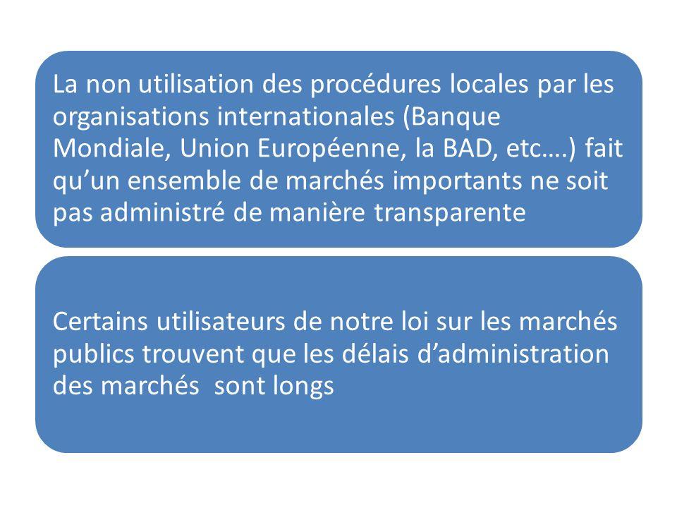 La non utilisation des procédures locales par les organisations internationales (Banque Mondiale, Union Européenne, la BAD, etc….) fait quun ensemble
