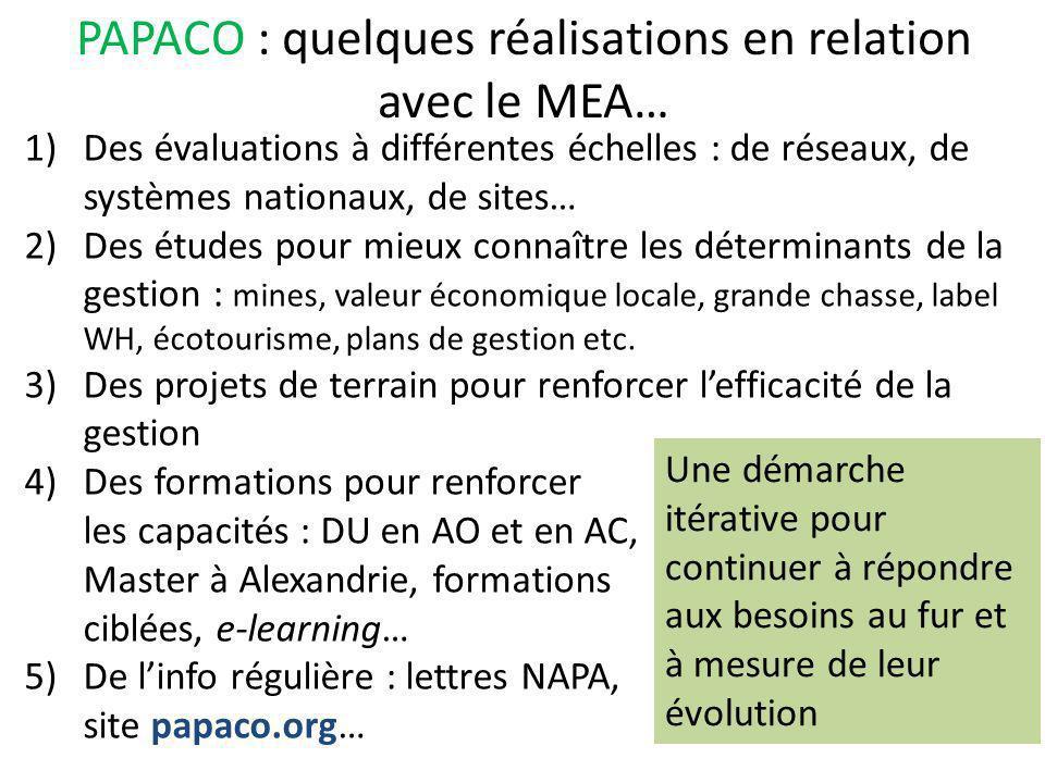 2) Quelques résultats des évaluations et état de conservation des AP…