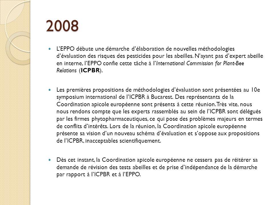 2008 LEPPO débute une démarche délaboration de nouvelles méthodologies dévaluation des risques des pesticides pour les abeilles.