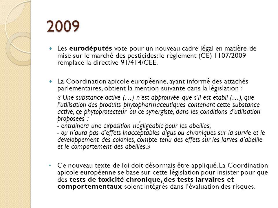 2009 Les eurodéputés vote pour un nouveau cadre légal en matière de mise sur le marché des pesticides: le règlement (CE) 1107/2009 remplace la directive 91/414/CEE.