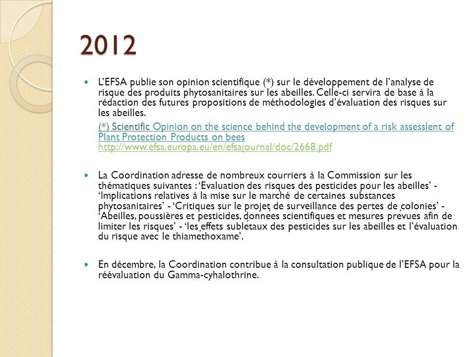 2012 LEFSA publie son opinion scientifique (*) sur le développement de lanalyse de risque des produits phytosanitaires sur les abeilles. Celle-ci serv
