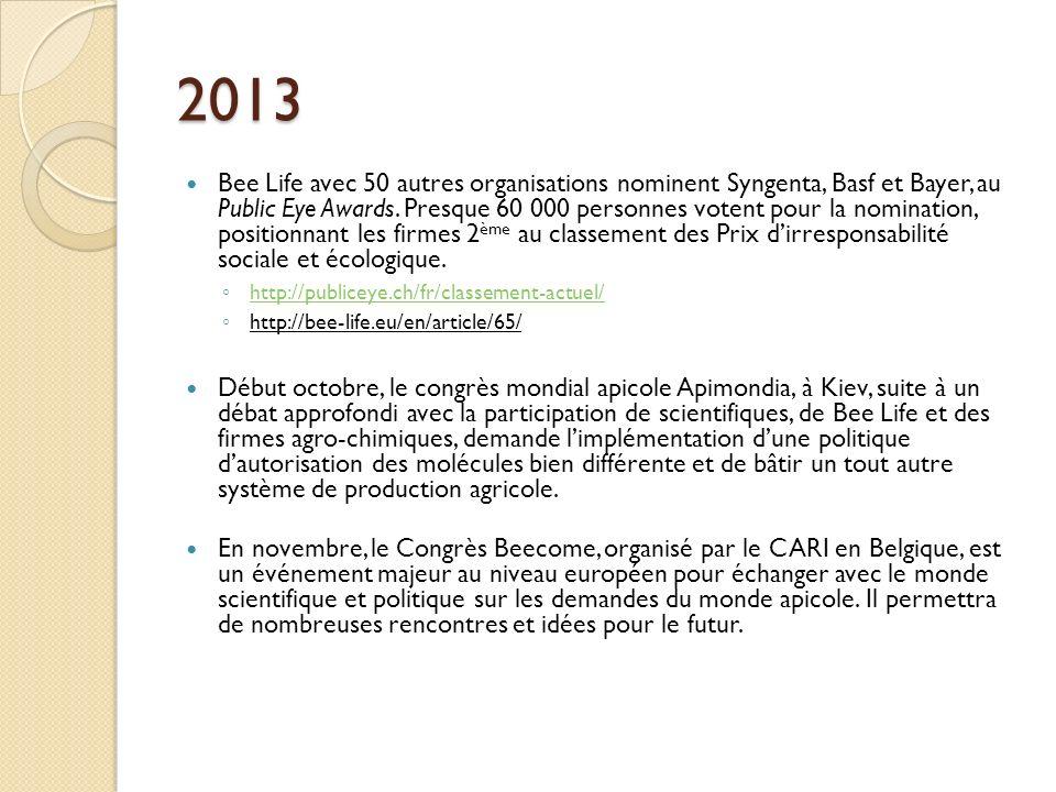 2013 Bee Life avec 50 autres organisations nominent Syngenta, Basf et Bayer, au Public Eye Awards. Presque 60 000 personnes votent pour la nomination,