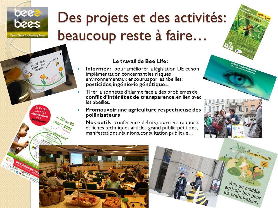 Des projets et des activités: beaucoup reste à faire… Le travail de Bee Life : Informer : pour améliorer la législation UE et son implémentation concernant les risques environnementaux encourus par les abeilles: pesticides, ingénierie génétique,....