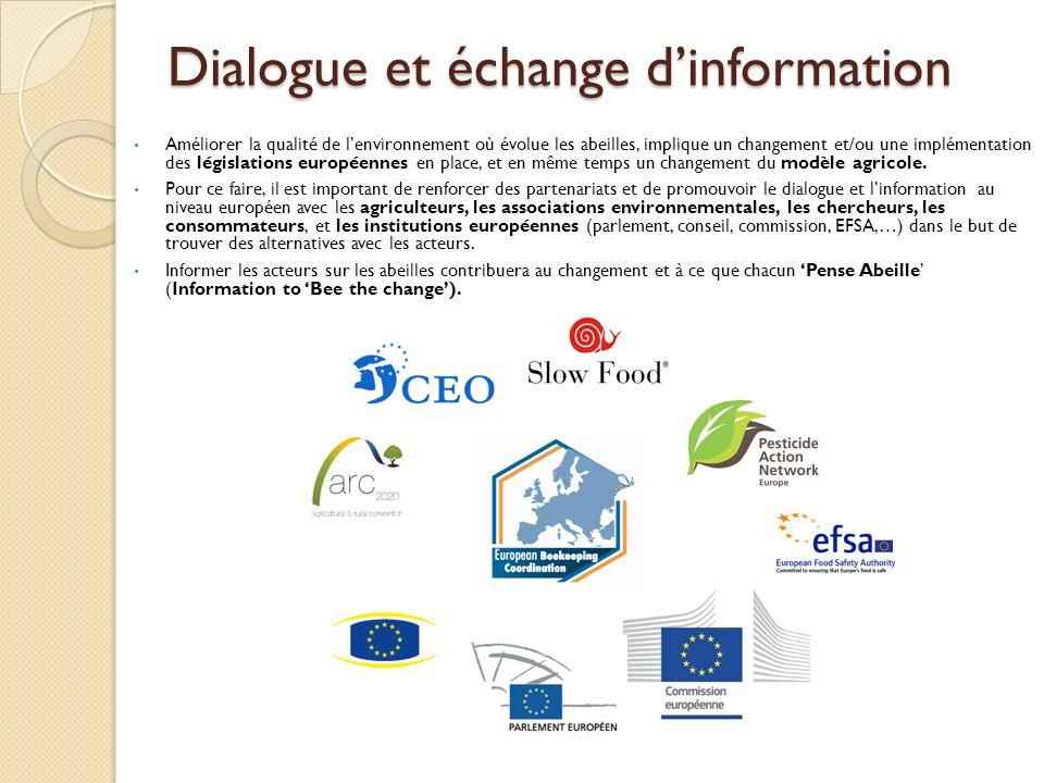 Dialogue et échange dinformation Améliorer la qualité de lenvironnement où évolue les abeilles, implique un changement et/ou une implémentation des législations européennes en place, et en même temps un changement du modèle agricole.