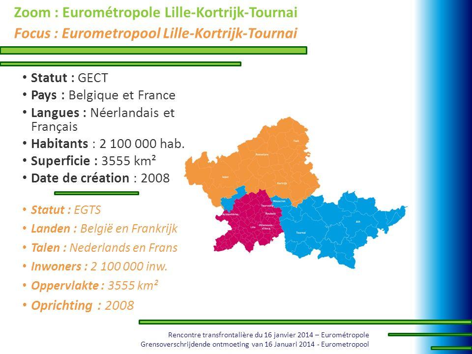 Rencontre transfrontalière du 16 janvier 2014 – Eurométropole Grensoverschrijdende ontmoeting van 16 Januari 2014 - Eurometropool Zoom : Eurométropole