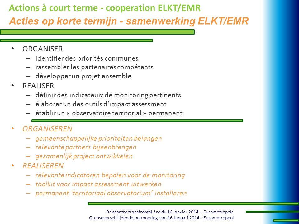 Rencontre transfrontalière du 16 janvier 2014 – Eurométropole Grensoverschrijdende ontmoeting van 16 Januari 2014 - Eurometropool Actions à court term
