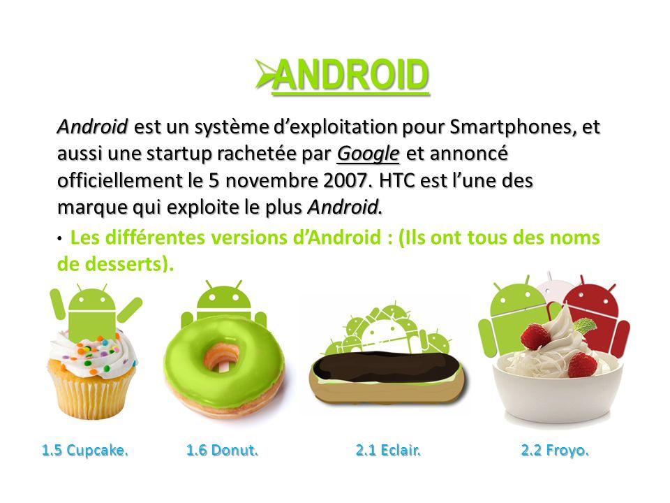 ANDROID ANDROID Android est un système dexploitation pour Smartphones, et aussi une startup rachetée par Google et annoncé officiellement le 5 novembre 2007.