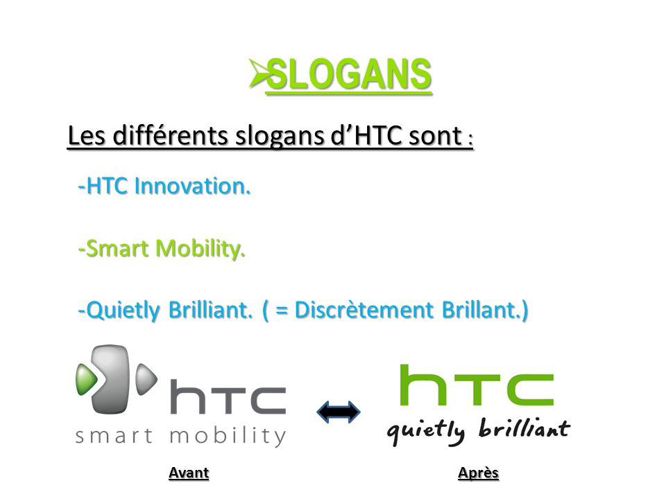 SLOGANS SLOGANS Les différents slogans dHTC sont : -HTC Innovation.