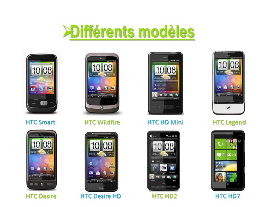 Différents modèles Différents modèles HTC Smart HTC Wildfire HTC HD Mini HTC Desire HD HTC HD7 HTC HD7 HTC Legend HTC Desire HTC HD2 HTC HD2