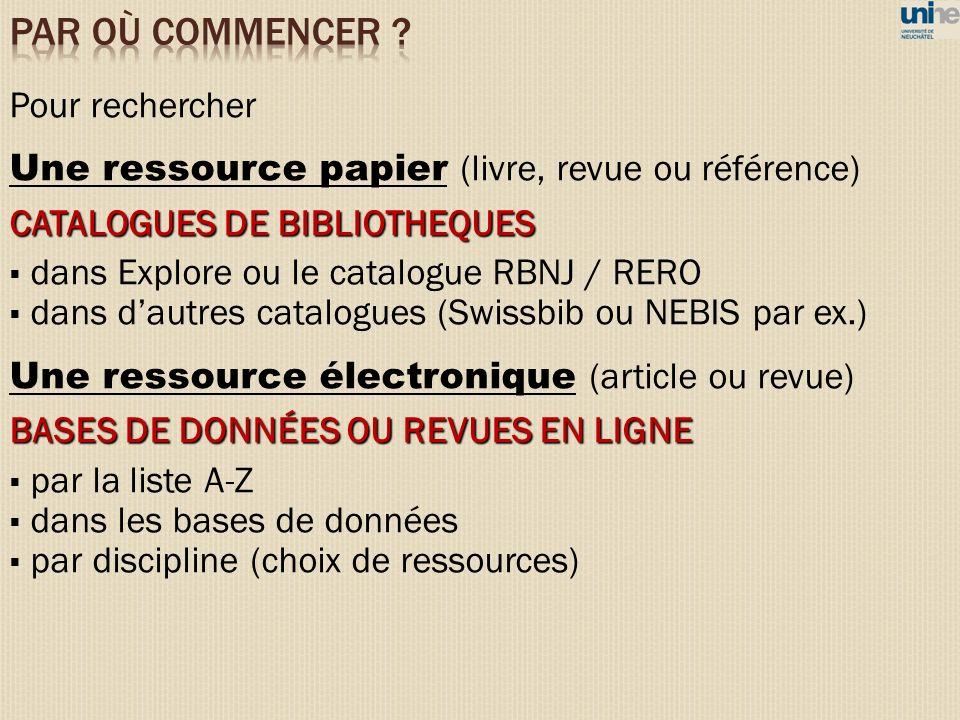 Pour rechercher Une ressource papier (livre, revue ou référence) CATALOGUES DE BIBLIOTHEQUES dans Explore ou le catalogue RBNJ / RERO dans dautres cat