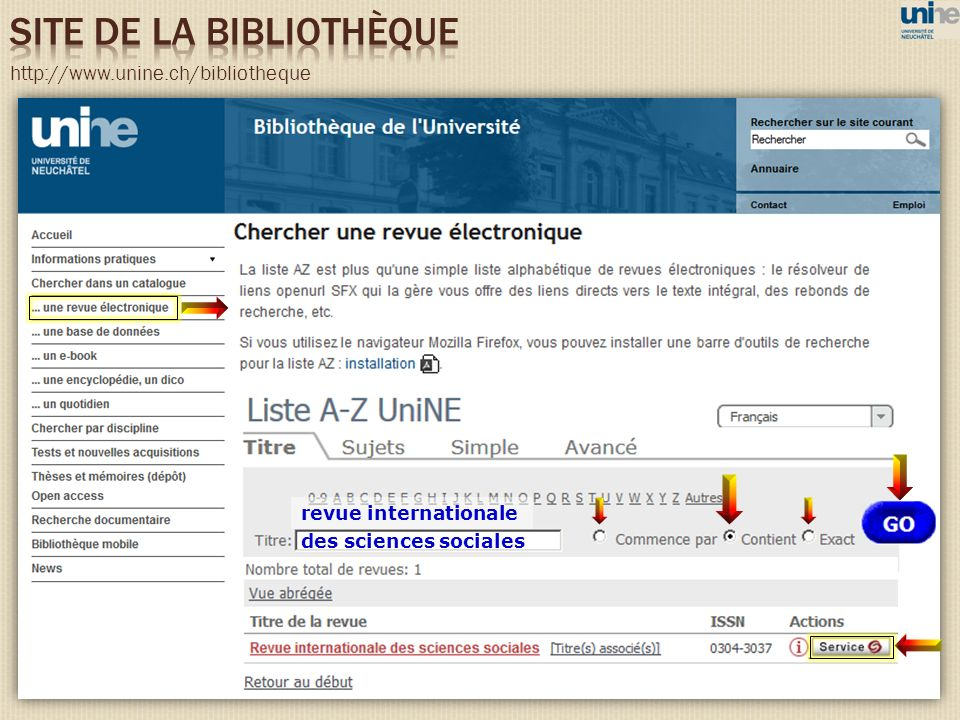 http://www.unine.ch/bibliotheque des sciences sociales revue internationale