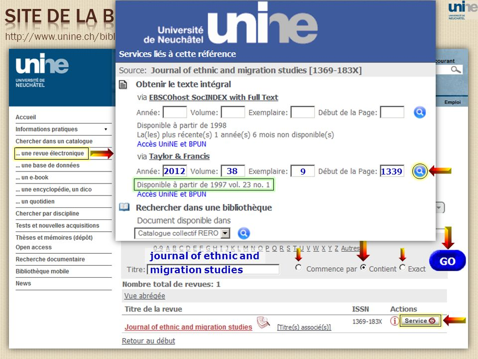 http://www.unine.ch/bibliotheque migration studies journal of ethnic and 38 91339 2012