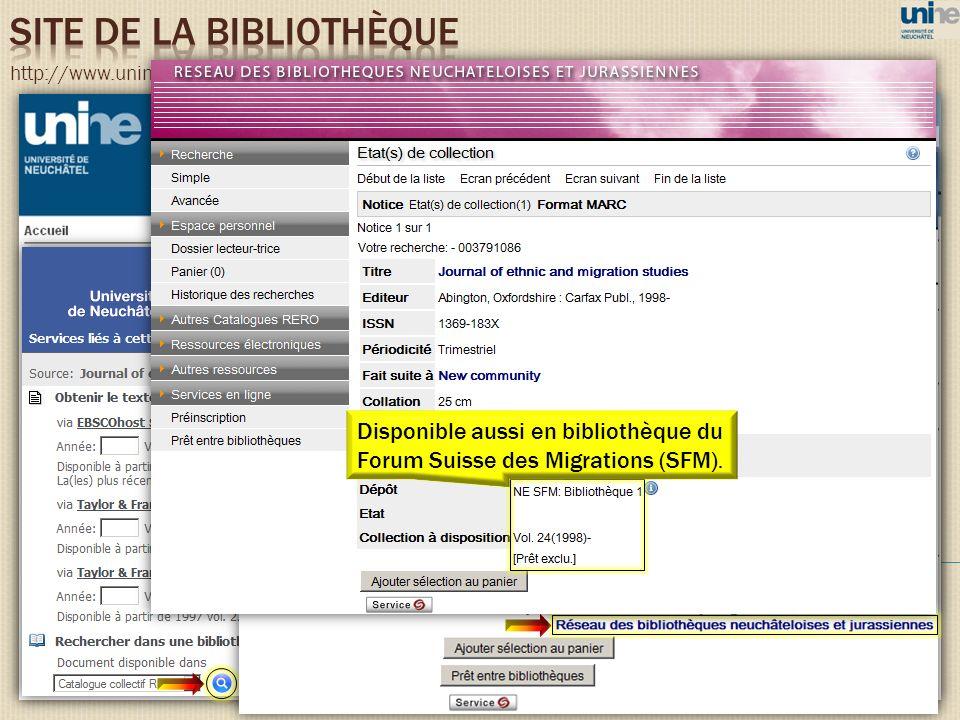 http://www.unine.ch/bibliotheque Disponible aussi en bibliothèque du Forum Suisse des Migrations (SFM).