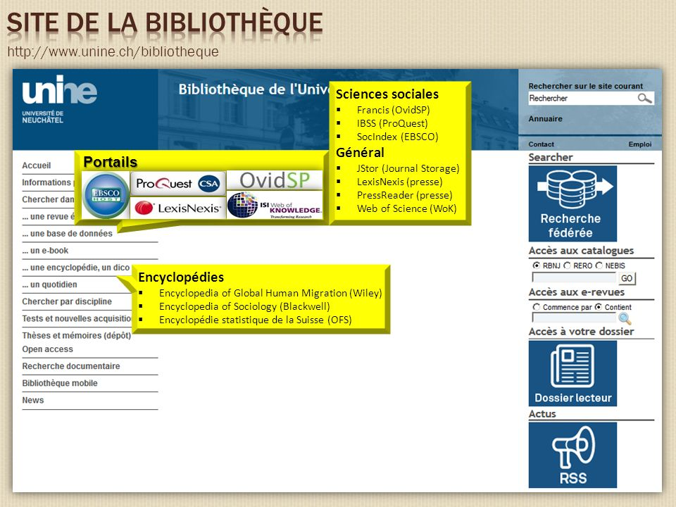 http://www.unine.ch/bibliotheque Sciences sociales Francis (OvidSP) IBSS (ProQuest) SocIndex (EBSCO) Général JStor (Journal Storage) LexisNexis (press