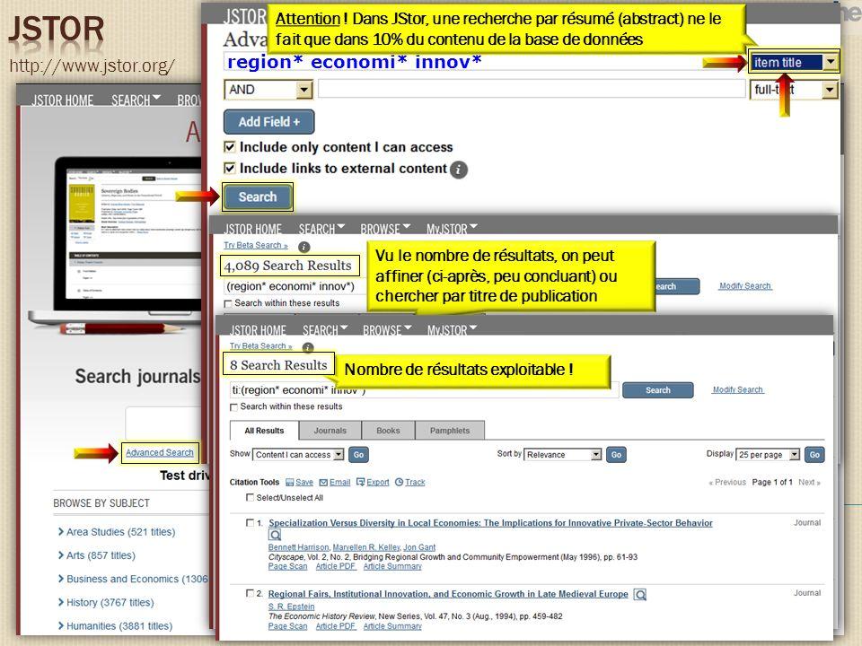 http://www.jstor.org/ region* economi* innov* Attention ! Dans JStor, une recherche par résumé (abstract) ne le fait que dans 10% du contenu de la bas