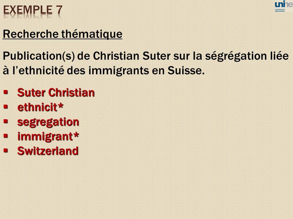 Recherche thématique Publication(s) de Christian Suter sur la ségrégation liée à lethnicité des immigrants en Suisse. Suter Christian Suter Christian