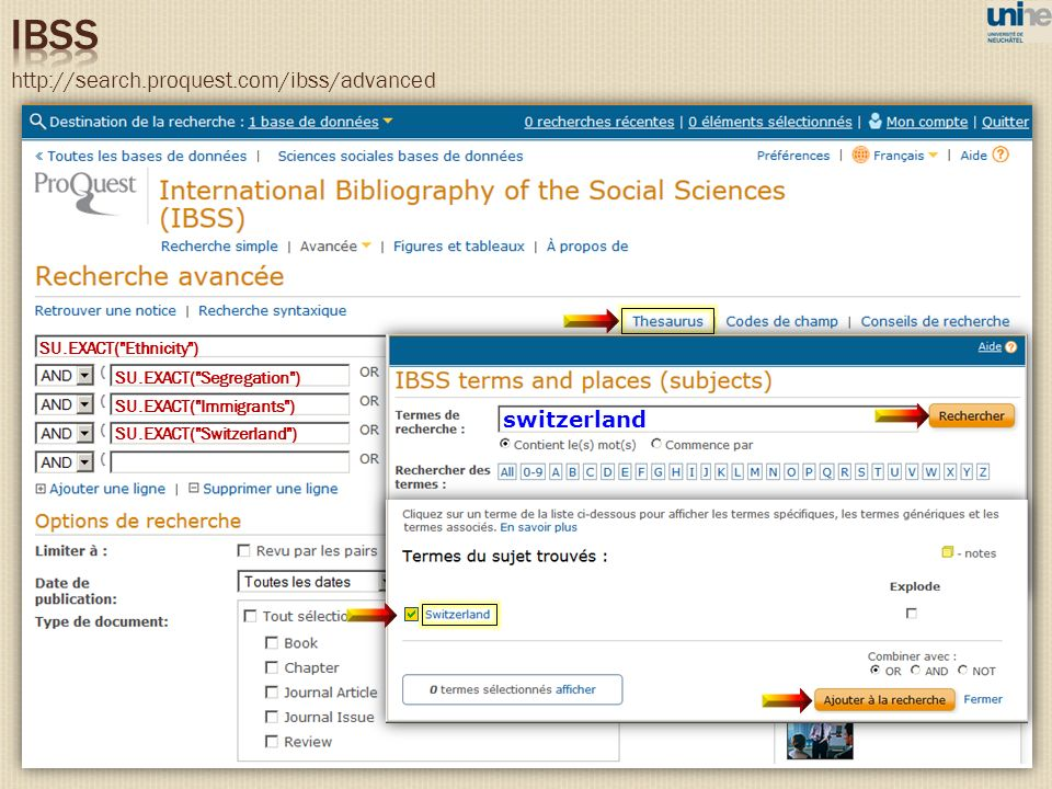 http://search.proquest.com/ibss/advanced switzerland SU.EXACT(
