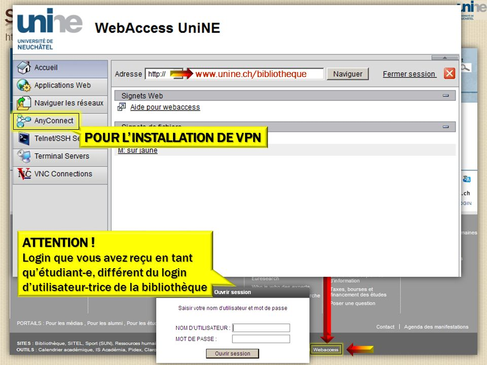 http://www.unine.ch www.unine.ch/bibliotheque ATTENTION ! Login que vous avez reçu en tant quétudiant-e, différent du login dutilisateur-trice de la b
